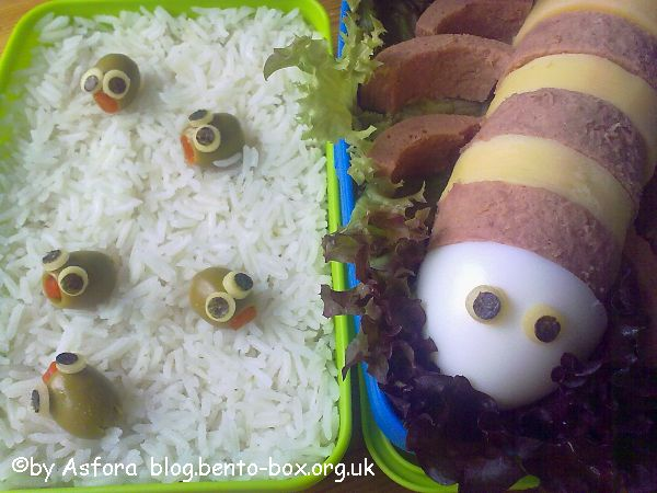 Cootie mama and babies bento